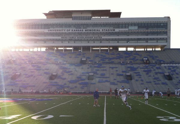 The Jayhawks had a little extra pep in their step during Tuesday's practice at Memorial Stadium. KU plays host to Texas at 11 a.m. Saturday.