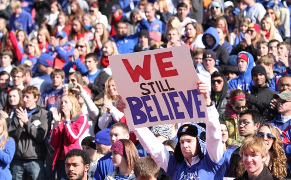 A Kansas fan expresses the sentiments of some of those remaining following the Jayhawks' heartbreaking 21-17 loss to Texas on Saturday, Oct. 27, 2012 at Memorial Stadium.