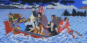 "Roger Shimomura&squot;s ""Shimomura Crossing the Delaware,"" which just recently was purchased by the Smithsonian National Portrait Gallery."