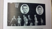 Gene Cusic, top right, is shown in this 1948 Emporia State yearbook photo, alongside a picture of his team in this unmarked game photo.