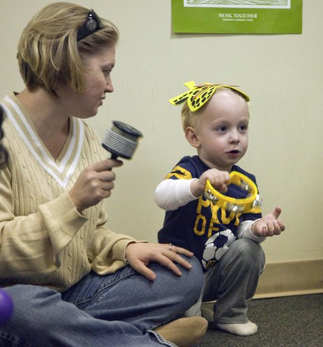 Darcey Erickson and her son, Jackson, 2, play music together in a Meadowlark Music Together parent-tot class at First Baptist Church, 1300 Kasold Drive.