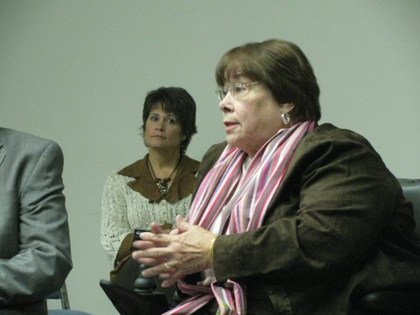 Kansas Department for Children and Families Secretary Phyllis Gilmore speaks Thursday with officials at the local DCF office.