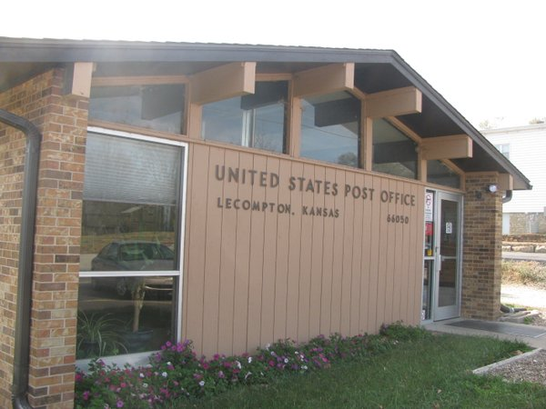 The post office in Lecompton. The U.S. Postal Service has proposed reducing its hours of operation.