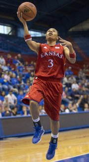 Kansas' Angel Goodrich breaks free for an easy lay up during Kansas' final exhibition game against Fort Hays State University, Sunday, Nov. 4, 2012 at Allen Fieldhouse. The Jayhawks open the season against Idaho State Sunday at 2 p.m.