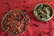 These two cranberry dishes both come together quickly and require few ingredients. At left is Megan's quick cranberry relish; at right is Sarah's sweet and nutty cranberry chocolate bowl.