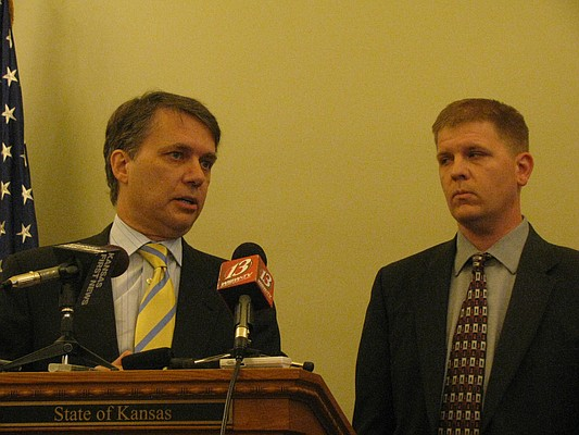 Lt. Gov. Jeff Colyer and Aging and Disability Services Secretary Shawn Sullivan speak Monday on disability services.