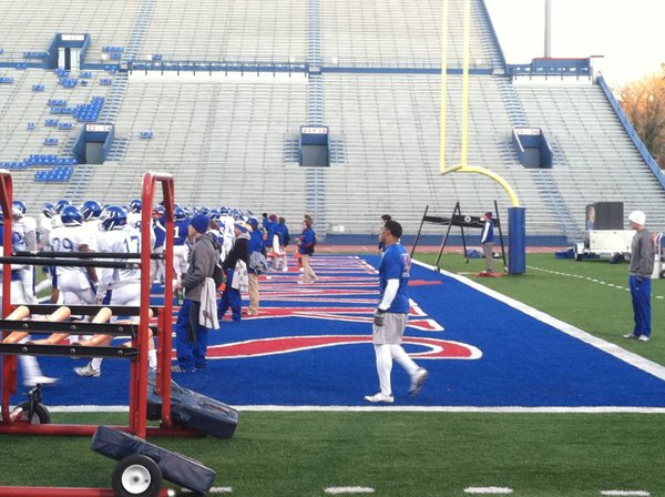 KU senior D.J. Beshears (in the end zone, not in uniform) returned to the practice field Tuesday. 