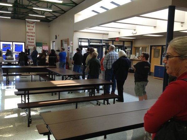 Here's the scene late Tuesday morning at the polling site at Prairie Park elementary school