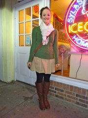Bethany Ruder, Lawrence. Clothing details: scarf, Target, last year, $15; sweater, Abercrombie, last year, $30; dress, Old Navy, three years ago, $20; leggings, Target, this summer, $10; boots, DSW, last year, $80.