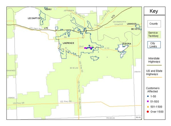 Westar Energy outage map as of 4:30 a.m., November 7, 2012.