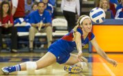 Kansas' Brianne Riley gets low to the court as she makes a dig during Kansas' volleyball match against Texas, Saturday, Nov. 10, 2012 at the Horejsi Center.