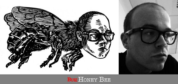 Printmaker Patrick Vincent's self-portrait for his Bugs project
