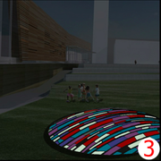 A concept plan for a glass fountain in the plaza area between the Lawrence Public Library and the city parking garage.
