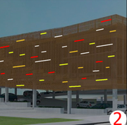 A concept rendering of how art glass panels could be added to the exterior of the propose city parking garage as part of the Lawrence Public Library expansion project.