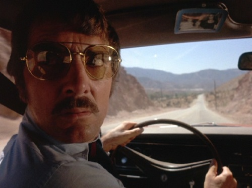 "Dennis Weaver, his mustache, and ""Duel,"" no doubt wishing cell phones were a little more prevalent in 1971."