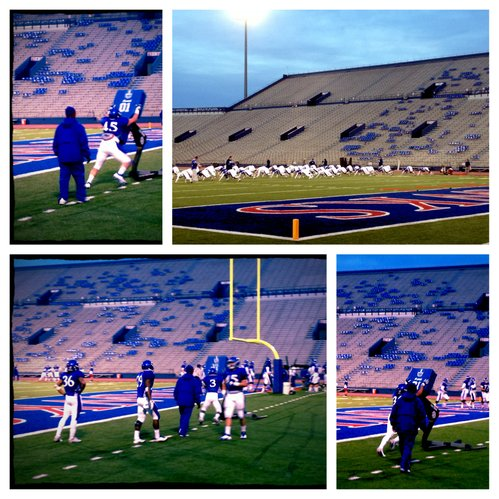 KU's talented crop of running backs runs through blocking drills during Tuesday's practice at Memorial Stadium.