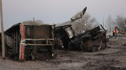 The twisted wreckage of train cars lay near the tracks at the scene of a Union Pacific train derailment early Tuesday morning in the city limits of Grantville. Jefferson County Sheriff Jeff Herrig said officials received the call about the derailment about 9:35 p.m. Monday night. Grantville is about 25 miles west of Lawrence, along U.S. Highway 24. It is a few miles east of North Topeka.Twenty-three coal cars were involved in the accident. There were no injuries, Herrig said, but one house was damaged when a piece of rail went through the house. Herrig said it was very lucky there were no injuries from the derailment because the piece of the rail landed on the bottom bunk of a bunk bed, and a child was sleeping on the top bunk.