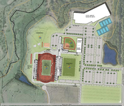 The proposed site plan for the Rock Chalk Park Sports Complex in northwest Lawrence.