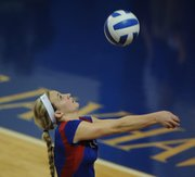 KU's Morgan Boub (6) eyes a return against Oklahoma on Wednesday, Nov. 14, 2012, at Horejsi Center.