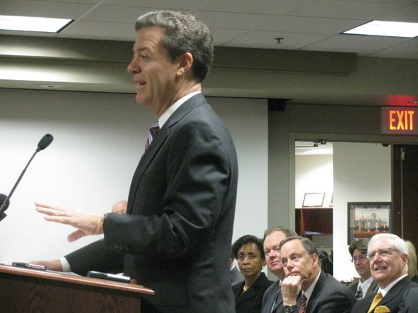 Gov. Sam Brownback speaking Thursday to the Kansas Board of Regents.