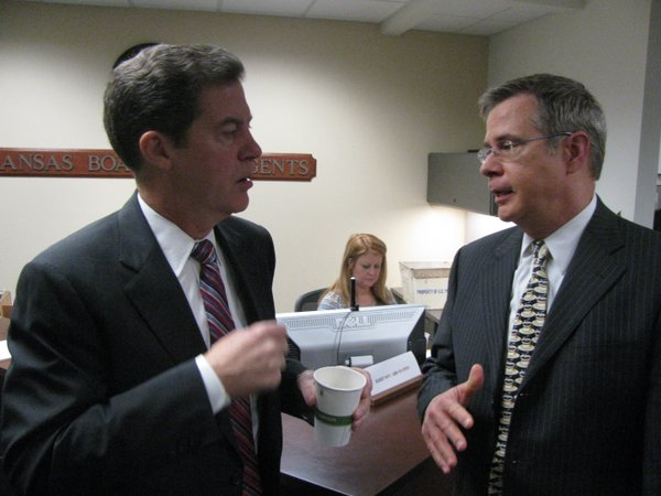 Brownback and Kansas University Provost Jeff Vitter visit on Thursday after the governor's talk to the regents.