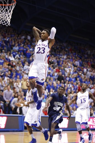 Kansas guard Ben McLemore elevates for a two-handed jam against Chattanooga during the second half on Thursday, Nov. 15, 2012 at Allen Fieldhouse.