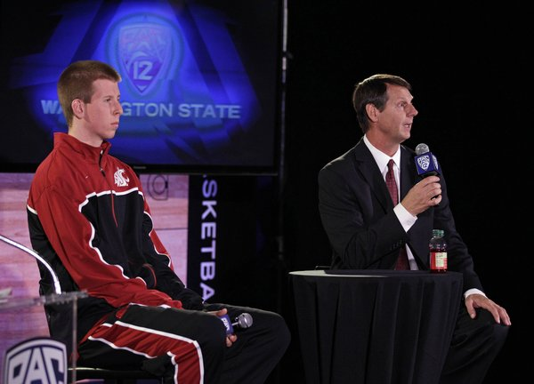 Washington State senior forward Brock Motum, left, and head coach Ken Bone, right, take questions during Pac-12 NCAA college basketball media day, Thursday, Nov. 1, 2012 in San Francisco.