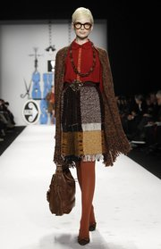 Mix up a winter look with dark-colored tights like these from the Anna Sui Fall 2012 collection, modeled during Fashion Week in New York Feb. 15, 2012.