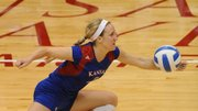 Kansas University junior Brianne Riley (3) makes a save in the Jayhawks' volleyball victory against St. Louis on Wednesday, Nov. 21, 2012, in Allen Fieldhouse.