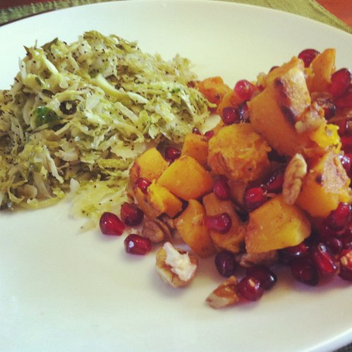 My Thanksgiving plate: Brussels and Butternut.