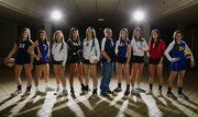 The Journal-World All-Area Volleyball team, from left: Madison Maring, Eudora; Ashley Sparks, Wellsville; Katy Davis, Free State; Caitlin Broadwell, Lawrence; Shelby Holmes, Free State; coach of the year Mike Bartlow, Veritas Christian; Shelby Dahl, Santa Fe Trail; Morgan Knapp, Free State; Jenny Whitledge, Tonganoxie; and Teri Huslig, Veritas. Not pictured: Hannah Billings, Mill Valley.