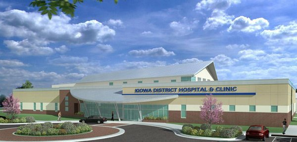 A rendering of the planned new Kiowa District Hospital by GLMV Architects, construction on which is slated to begin early in 2013.