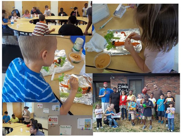 Youth creating veggie puppets, playing veggie bingo and excited about their prizes!