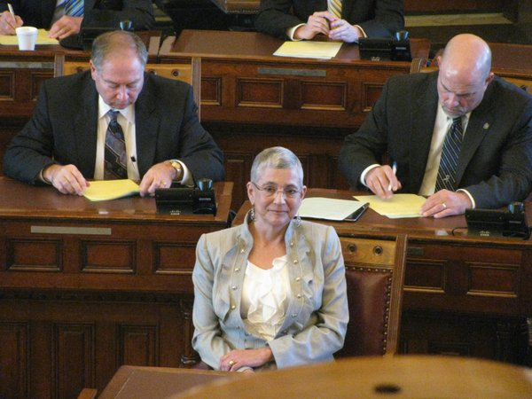 State Sen. Susan Wagle, R-Wichita, on Monday awaits vote in the Senate. Wagle was elected Senate president by the Republican caucus.