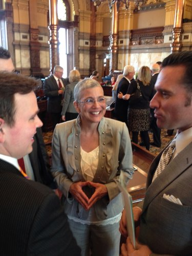 Wagle speaks with colleagues after her election as Senate president on Monday.