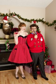 Festive wear is the most open-ended category. It can mean a colorful frock or a tacky sweater, depending on the party.