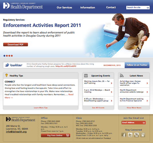 The Lawrence-Douglas County Health Department&#39;s website has a new look.