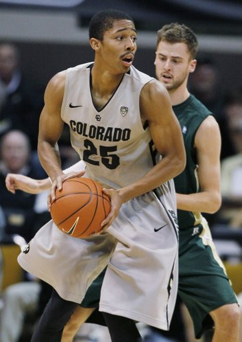 Colorado guard Spencer Dinwiddie, front, looks to pass the ball as Colorado State guard Wes Eikmeier covers in the second half of Colorado's 70-61 victor in Boulder, Colo., on Wednesday, Dec. 5, 2012.