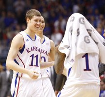 Kansas guard Tyler Self is congratulated by his teammates after a bucket against Colorado during the second half on Saturday, Dec. 8, 2012 at Allen Fieldhouse.