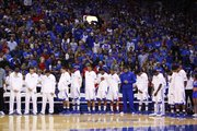 The fieldhouse is still for a moment of silence for the victims of the shooting in Newtown, Connecticut before tipoff against Belmont on Saturday, Dec. 15, 2012 at Allen Fieldhouse.