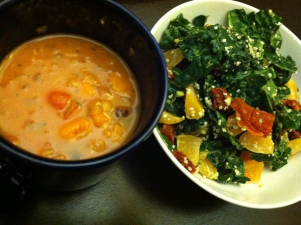 Red Lentil Thai Chili on the left, a sampling of this month&#39;s Delicious/Nutritious yumminess on the right.