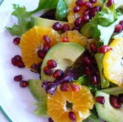 Clementine and Pomegranate Salad with Avocado, by chef Paige Vandegrift, is a festive yet fresh approach to a holiday salad.