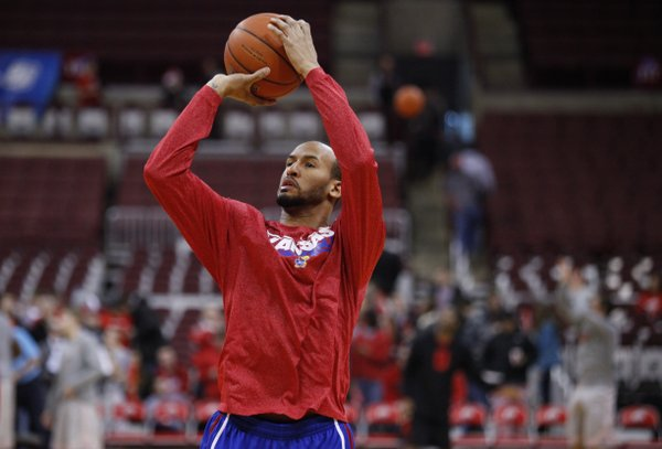 Kansas guard Travis Releford puts up a shot prior to tipoff against Ohio State on Saturday, Dec. 22, 2012 at Schottenstein Center in Columbus, Ohio.