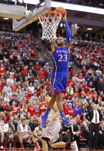Kansas guard Ben McLemore elevates for a dunk against Ohio State during the first half on Saturday, Dec. 22, 2012 at Schottenstein Center in Columbus, Ohio.