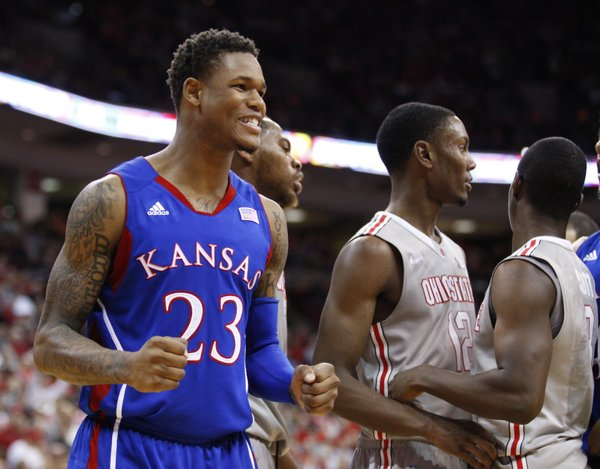 Kansas guard Ben McLemore clenches his fists after a bucket and a foul against Ohio State during the second half on Saturday, Dec. 22, 2012 at Schottenstein Center in Columbus, Ohio.