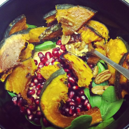 Pomegranate and kabocha squash salad.