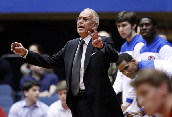 In this photo from Nov. 28, 2012, SMU head coach Larry Brown instructs his team against Utah in Salt Lake City. The well-traveled coach — who led Kansas University to the 1988 NCAA crown — has SMU off to a 9-4 start.