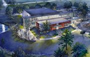 A rendering of Theatre Lawrences new building, at 4660 Bauer Farm Drive, that will have a 300-seat theater, dressing rooms and space for classes. 
