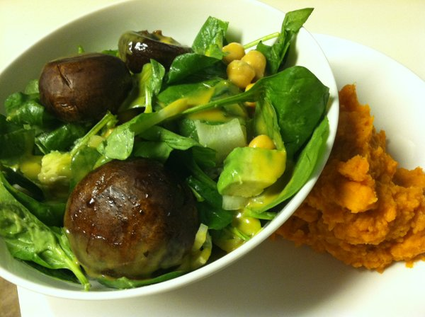 Portobello Salad with Spicy Mustard Dressing.
