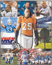 The 2012 Kansas University football season was short on wins but long on drama. Some of the top stories of the season were, clockwise from top left: The dismissal of several players, including running back Darrian Miller; the team's classroom success under new coach Charlie Weis; the hiring of Dave Campo as defensive coordinator; tributes to Don Fambrough; the euphoria of a season-opening win over South Dakota State; the excellence of running back James Sims; a losing streak that hit 11 games with the season-finale at West Virginia; a bumper crop of juco standouts; the surprise departure of defensive back Tyler Patmon; and, at center, the monster season by the Denver Broncos' Chris Harris.